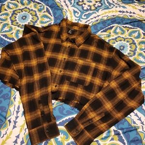 Crop plaid shirt